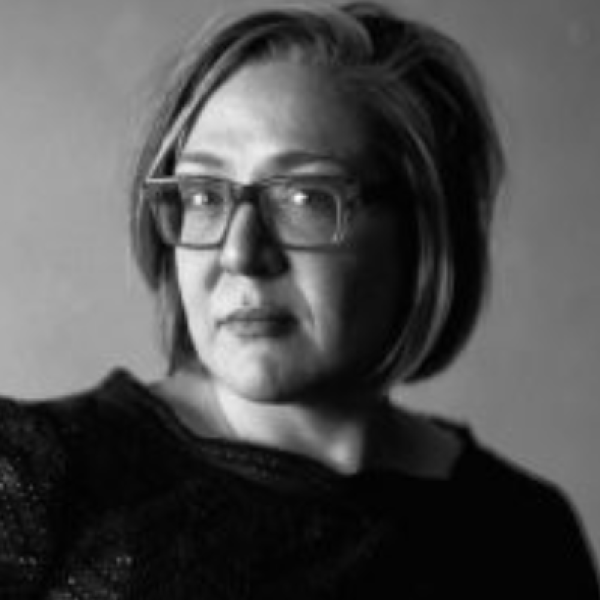 Black and white portrait of Kirsten Stoltz
