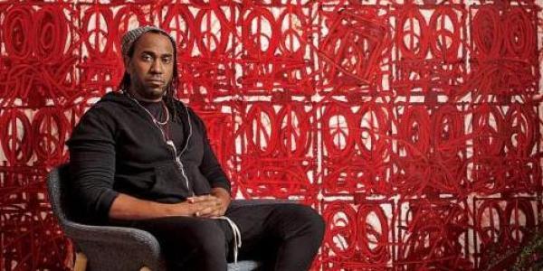 Rashid Johnson, a painter, sculptor, installation artist and filmmaker, in his Long Island, N.Y., studio on Dec. 16, 2020. (Credit: Jon Henry)