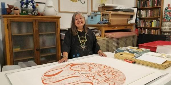 Melanie Yazzie in her studio