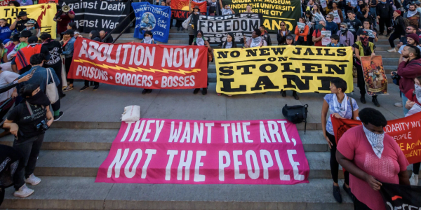 A rally, organized in part by Decolonize This Place, outside the Metropolitan Museum of Art in 2019.Credit...Erik McGregor/LightRocket via Getty Images