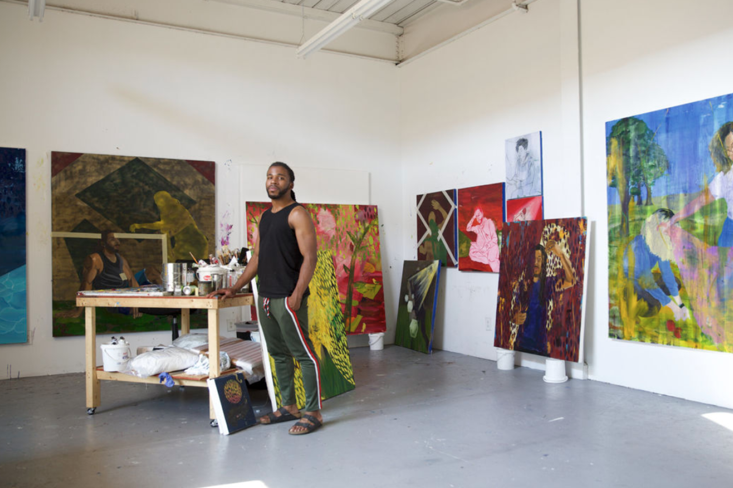 Portrait of Dominic Chambers in the artist's studio in New Haven, CT. Photo by Bek Andersen. Courtesy of the artist and Anna Zorina Gallery, New York City.