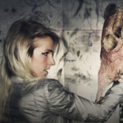 Image of Lisa Solberg holding a cow skull