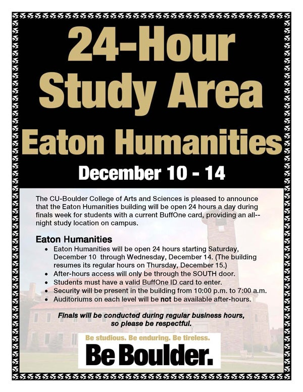 Eaton humanities will be open 24 hours during finals college of eaton reheart Image collections