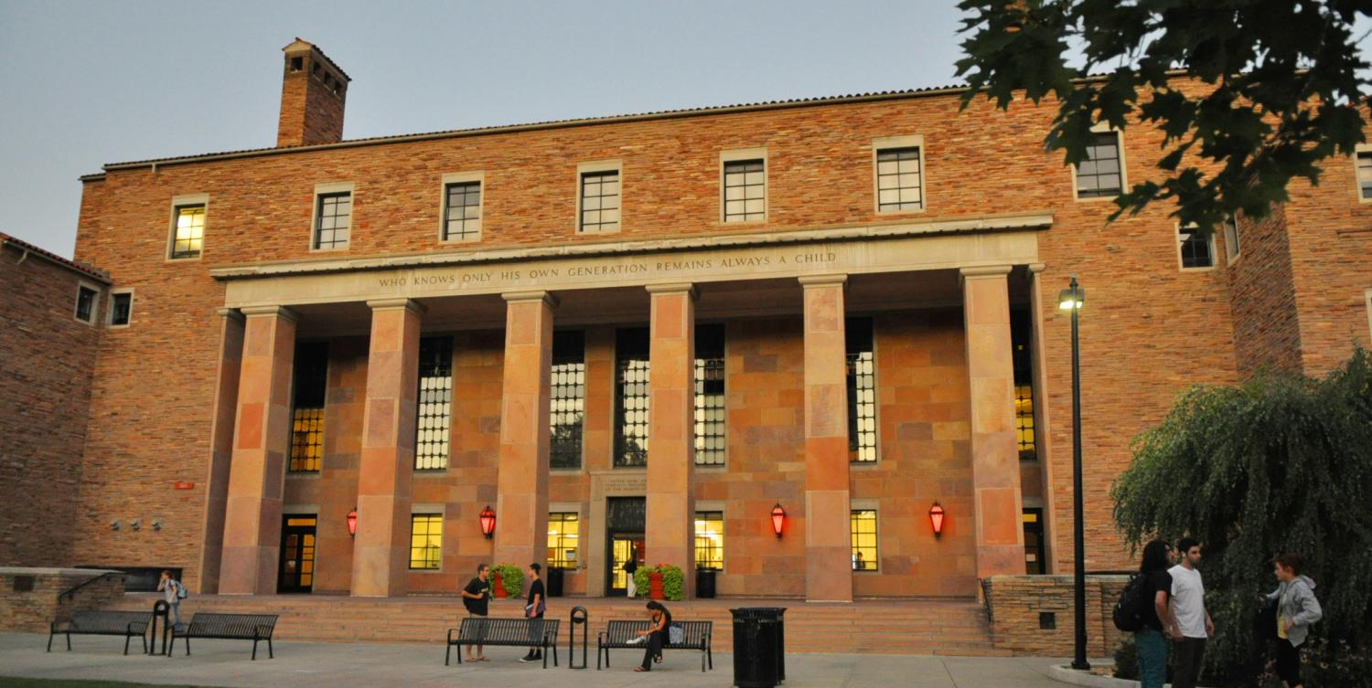Photograph of Norlin Library in the evening