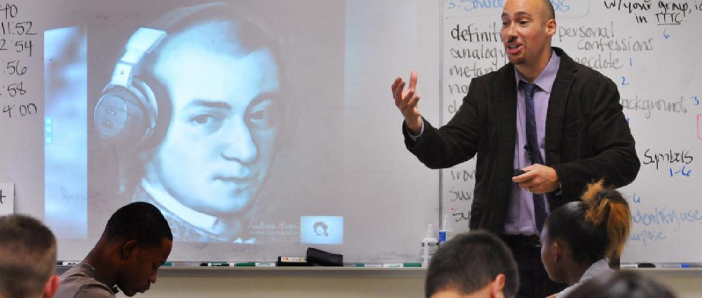 Photograph of Adam Bradley teaching a class