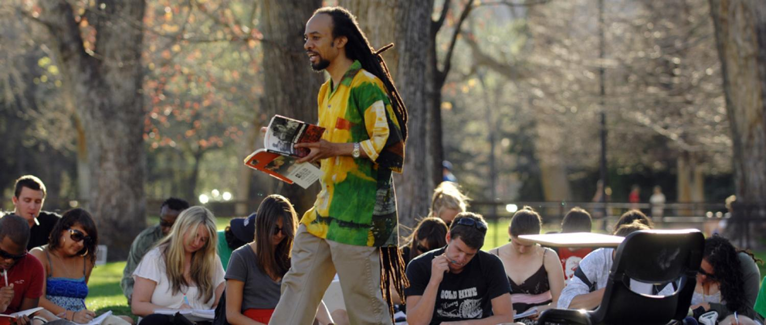 An ethnic studies class being held outside