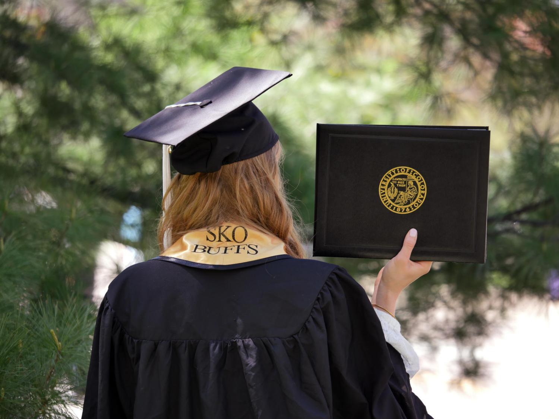 A person graduating