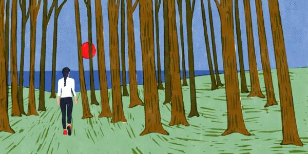 Illustration of a person walking through the woods