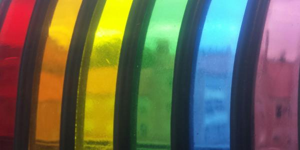 Photograph of some rainbow glass.