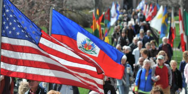 Multiple flags along a path in the Norlin Quad.