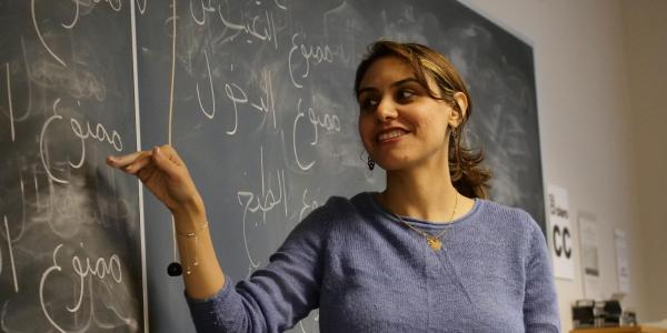 Professor teaching arabic