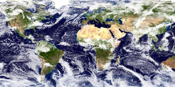 Horizontal photograph of the Earth from Space.