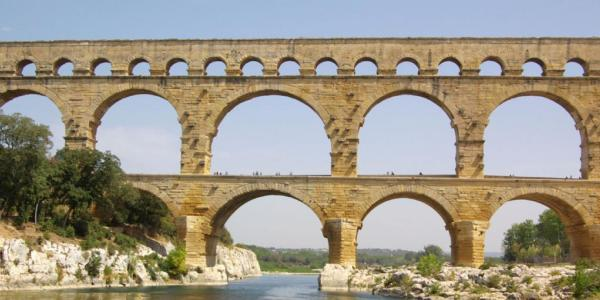 Stock photograph of a Roman aqueduct.