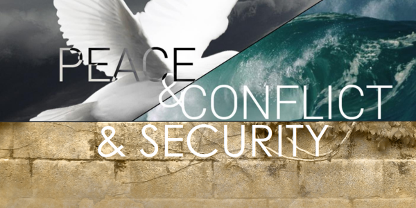 Peace, Conflict and Security Program's header image of a dove, wave and wall