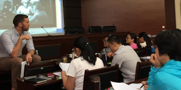 Linguistics prof leads classroom discussion