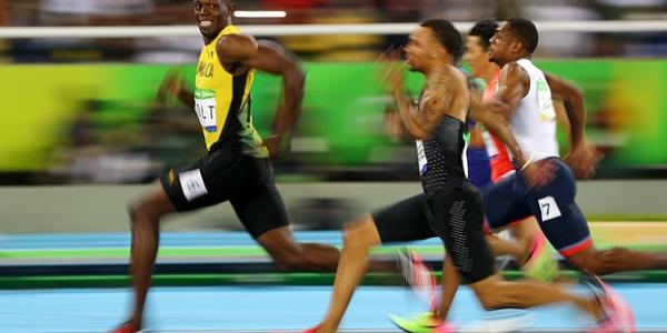 Bolt running in the olympics