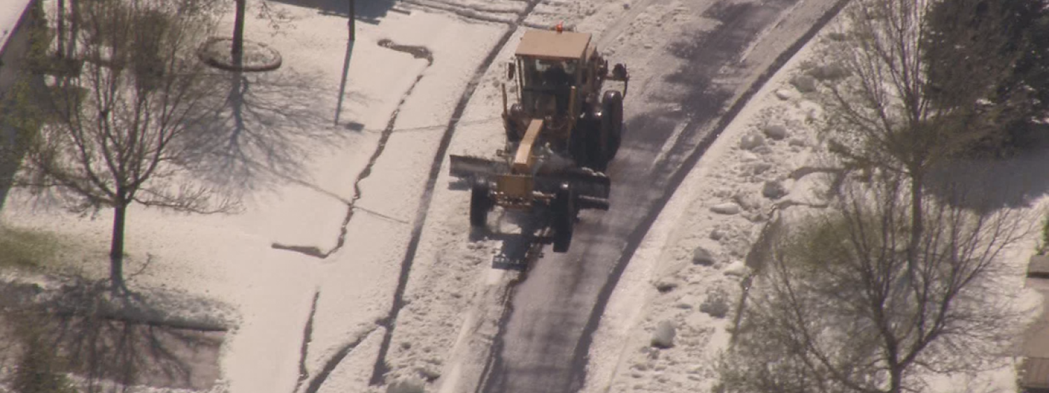 Hail accumulation getting plowed in a Parker neighborhood.