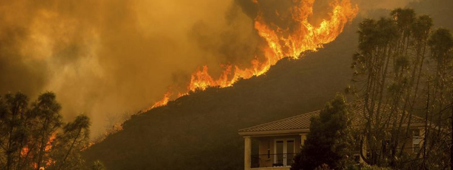 Flames from the River Fire in California