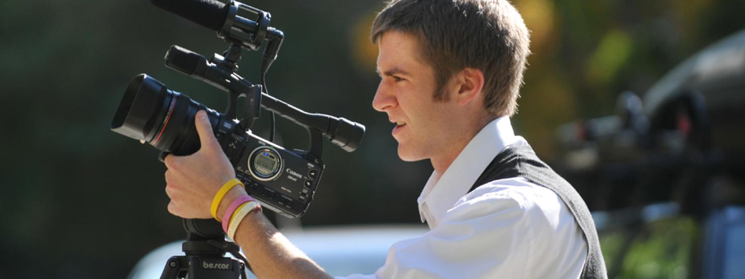 A student shooting a video