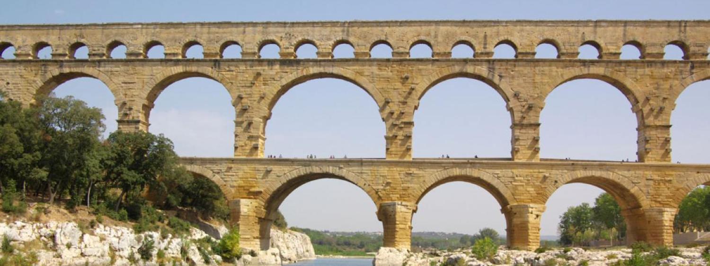 Stock photograph of a Roman aqueduct.