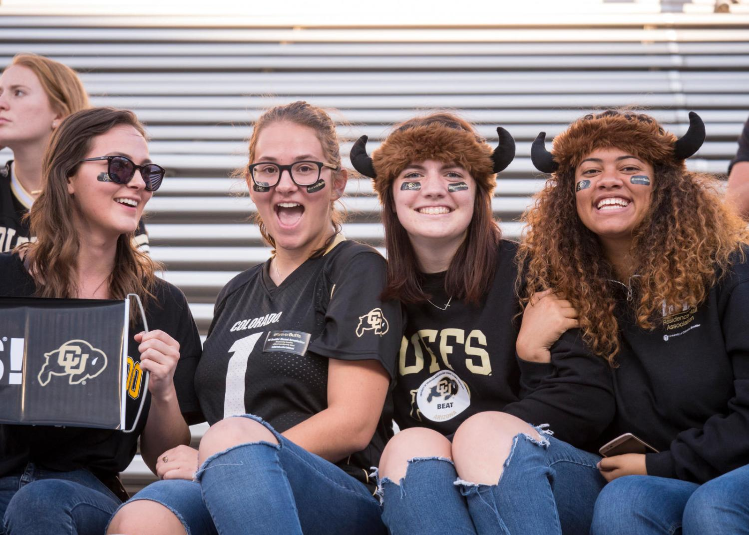 students in CU Boulder gear
