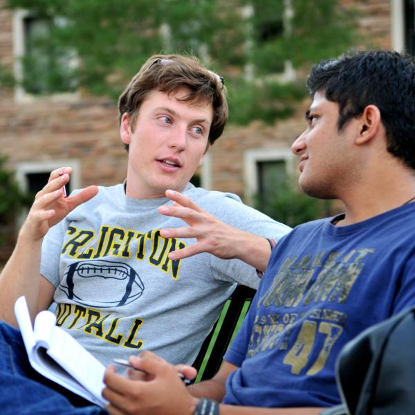 Students having a discussion