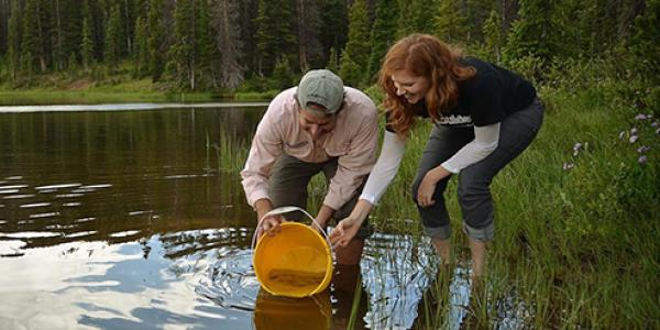 Two students stand ankle deep in a mountain lake with a bucket in hand.