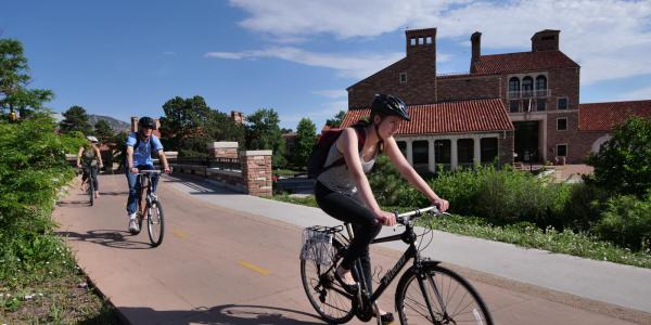 Student Biking to Campus