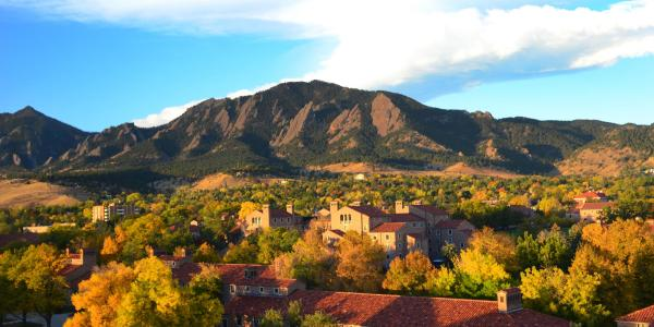 CU Boulder campus at sunset