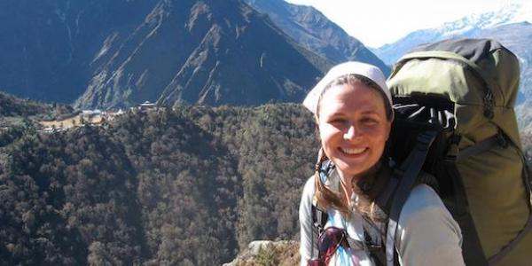 Lindsay Skog (Geog grad student) on the trail between research sites and from the ridge opposite Tengboche Monestary, Khumbu, Nepal. 2010