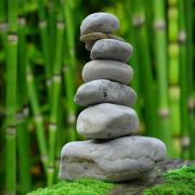 A cairn of gray river stones is stacked against a bamboo forest.