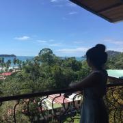 student views ocean in Costa Rica