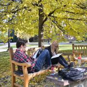 student sits on bench outside