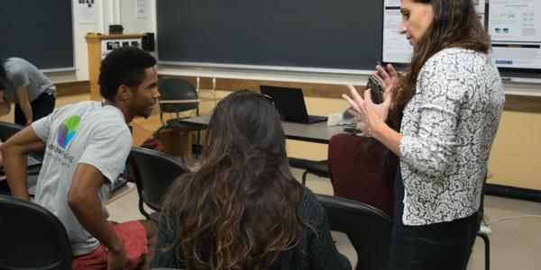 A person teaching a class
