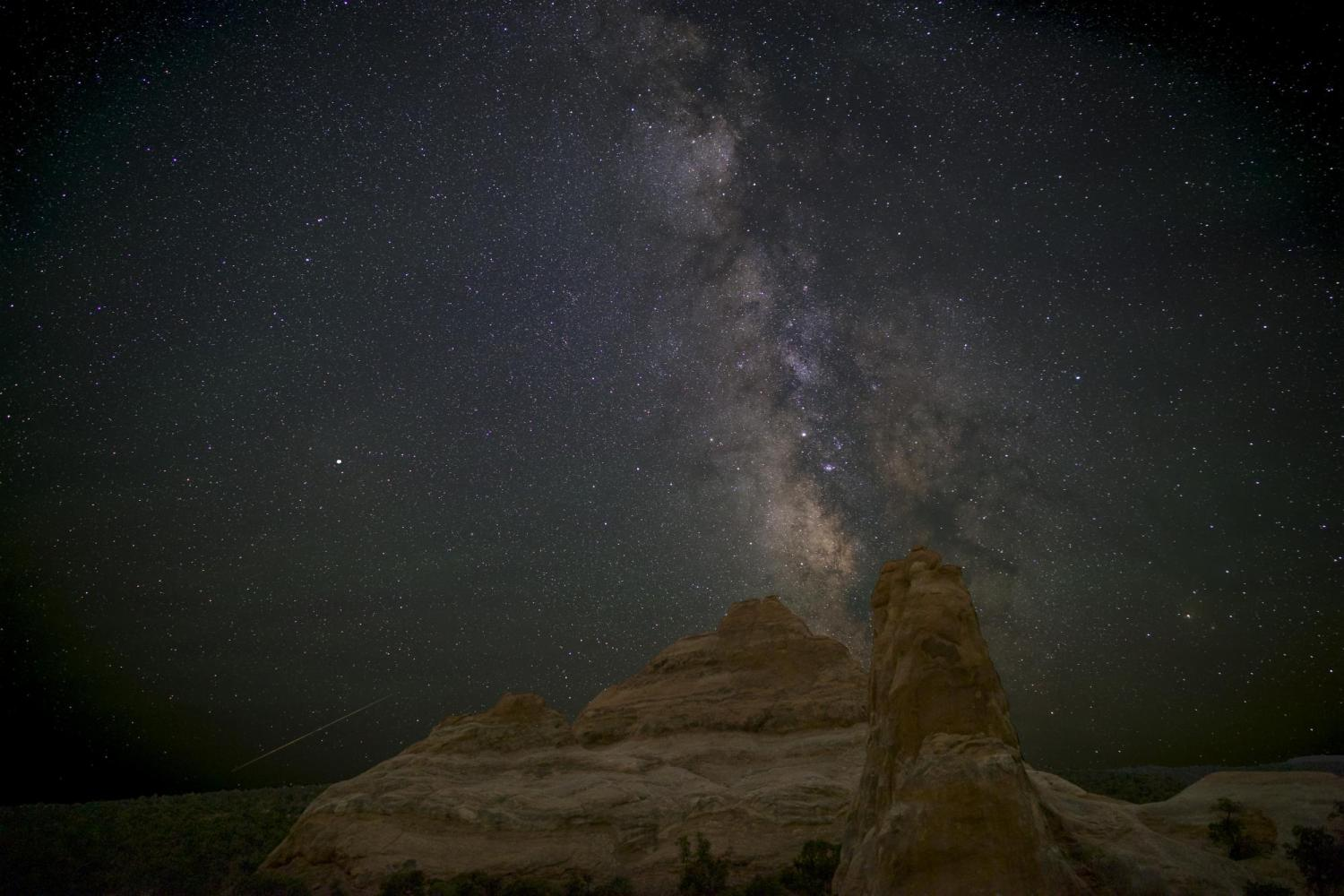 The Milky Way as seen in August; the galactic center is just above and to the left of the spire