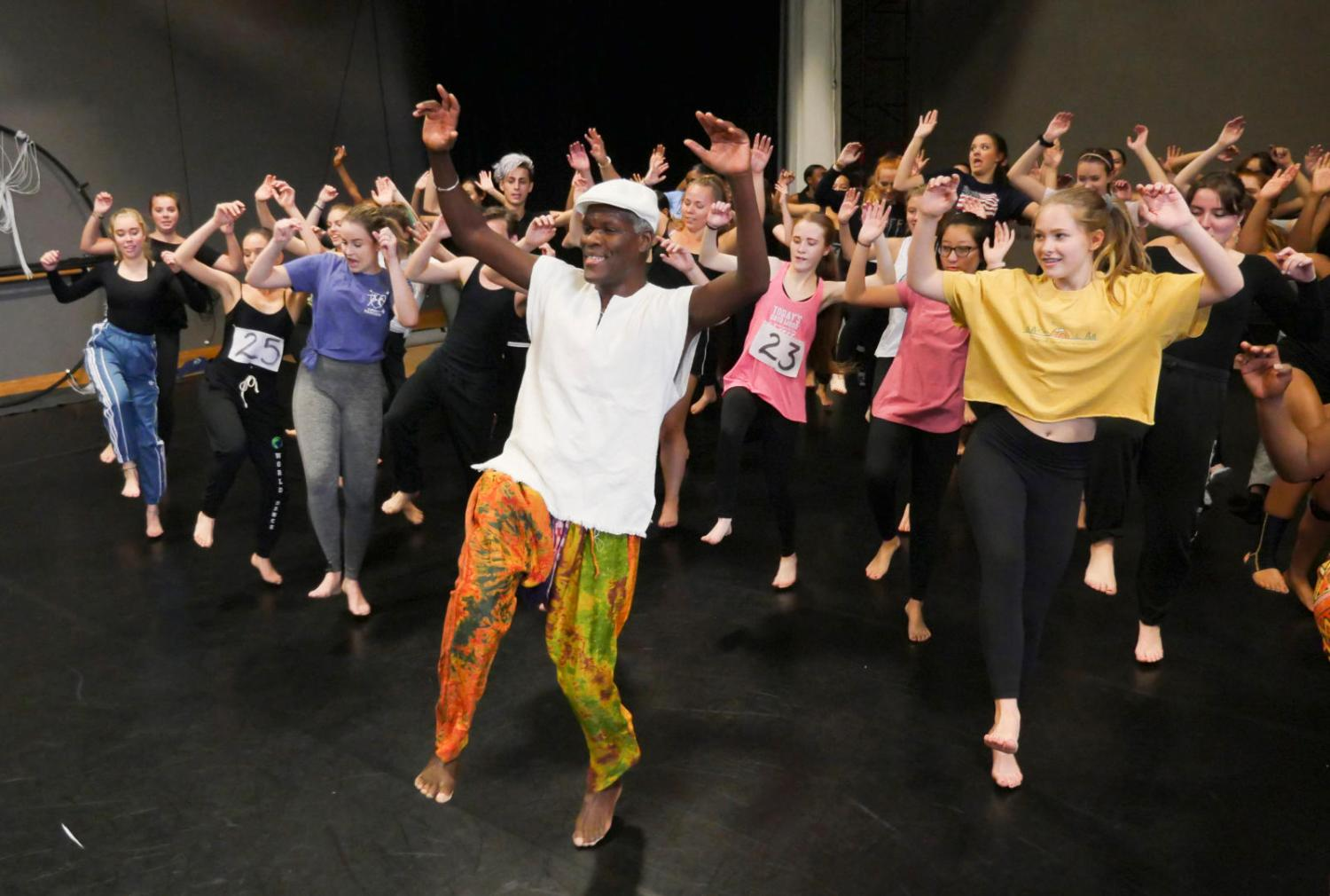 Nii Armah Sowah works with area dancers during High School Dance Day in the Theatre & Dance department at the University of Colorado Boulder. (Photo by Casey A. Cass/University of Colorado)