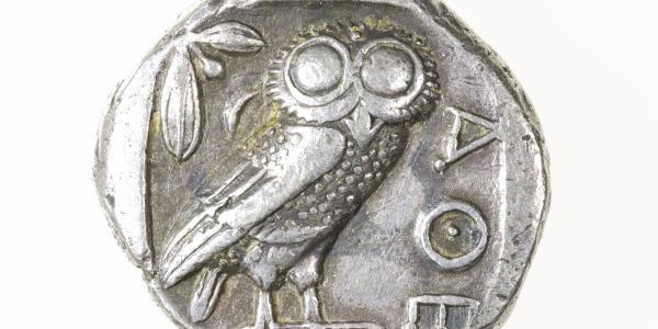 Who wants to see animals in art? Humans do, as a CU-Boulder art exhibition demonstrates. Unidentified artist, Greek, Ob: (Head of Athena r., later style, in helmet with olive leaves and scroll) | Re: ΑΘΕ, 454 – 404 BCE, silver tetradrachm, 1 inch dia., Transfer from Classics Department to CU Art Museum, University of Colorado Boulder, 2014.06.99, Photo: Katherine Keller, © CU Art Museum, University of Colorado Boulder