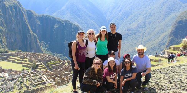 Students together on Machu Picchu