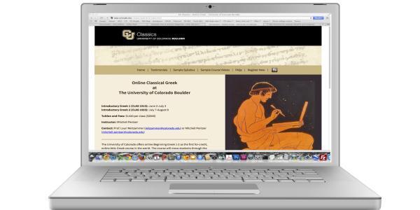 Laptop screen of Greek course