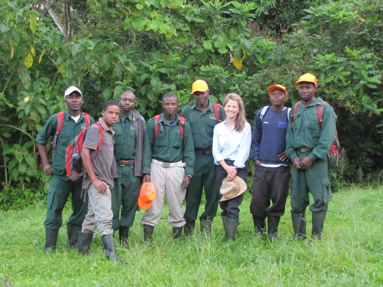 Joanna Lambert with her field crew, Kibale National Park, Uganda. Photo courtesy of Joanna Lambert.