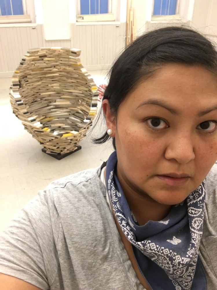 Native American art | Headshot of Anna Tsouhlarakis in her studio