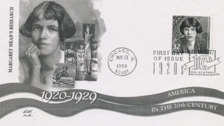 Margaret Mead featured on a postcard and stamp in the late 1990s.