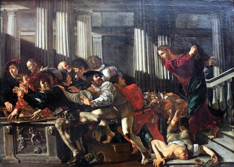 Caravaggio's depiction of Christ driving money changers out of the temple. Wikimedia Commons, FAL