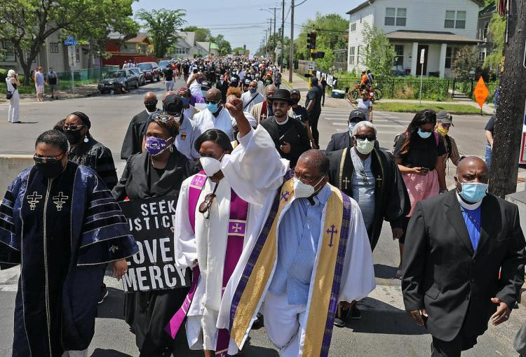 Clergy of color lead a march in Minneapolis to protest the killing of George Floyd. David Joles/Star Tribune via Getty Images