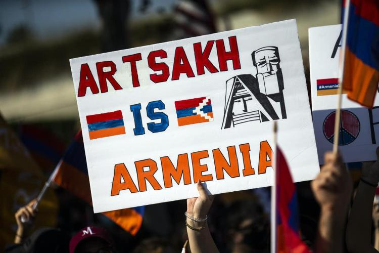 Members of the Armenian diaspora protest on their way to the Turkish embassy in Los Angeles, United States. Etienne Laurent/EPA