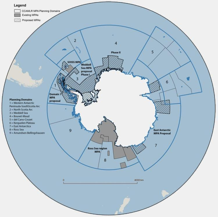 CCAMLR's two established MPAs (in grey) are the South Orkney Islands southern shelf MPA and the Ross Sea region MPA. Three proposed MPAs (hashed) include the East Antarctic, Domain 1 and Weddell Sea proposals. C. Brooks, CC BY-ND