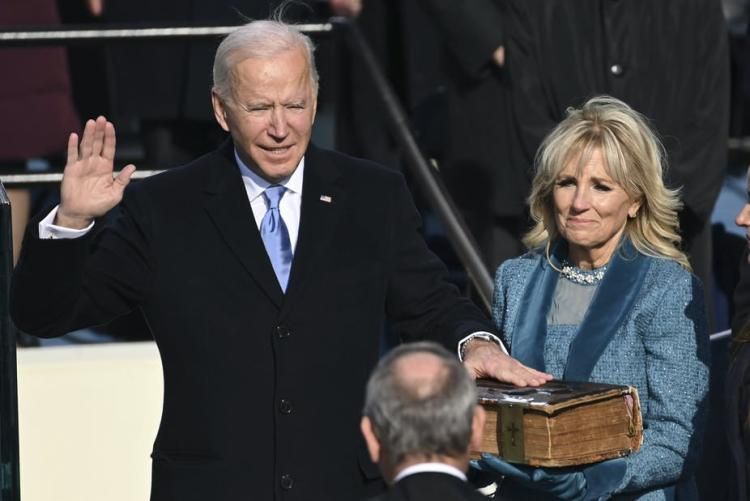 President Joe Biden being sworn in