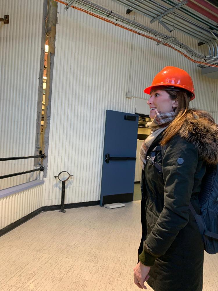 Lori Peek tours a school building that was damaged in the 2018 Alaska earthquake. @Rachel Adams, 2020