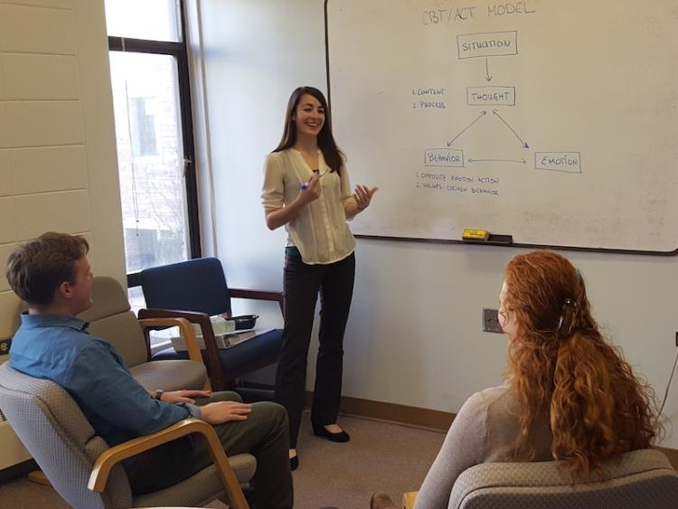 Psychology graduate students at the RDS Center discuss bipolar treatment options.