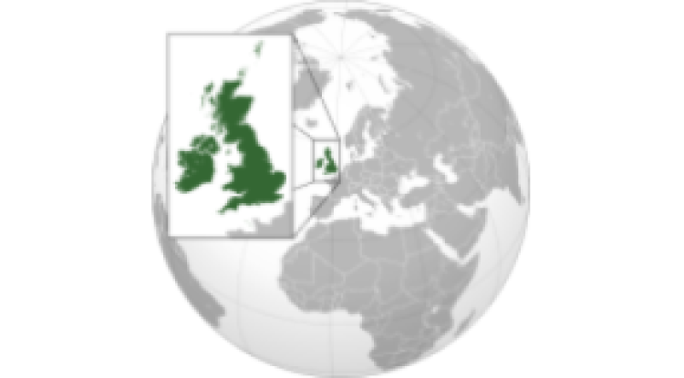 Magnified view of England and Ireland, used for the England case report. Image provided by COVID-19 Policies & Epidemiology Research Project.